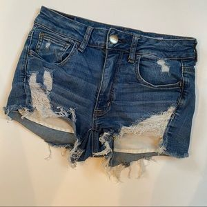 American Eagle High Rise Shortie Distressed Shorts